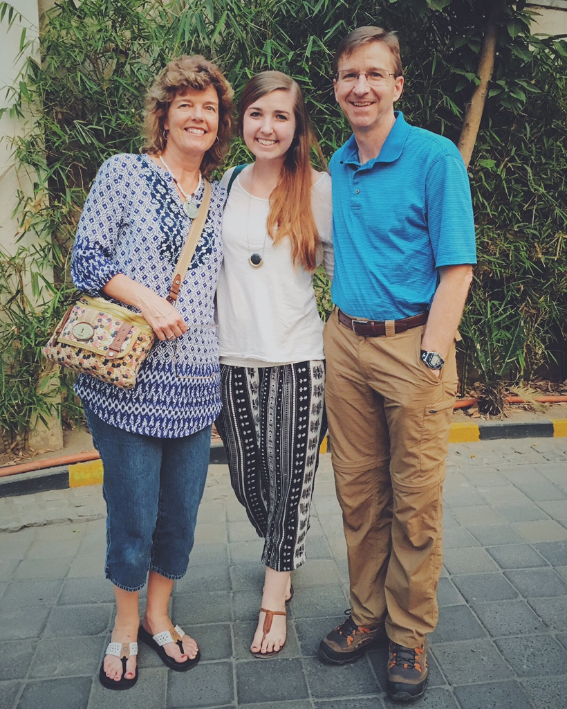 Greg and Linda Jobe will spend time with their daughter, Kelly, who is currently on a 6-month study abroad in India through our Institute.