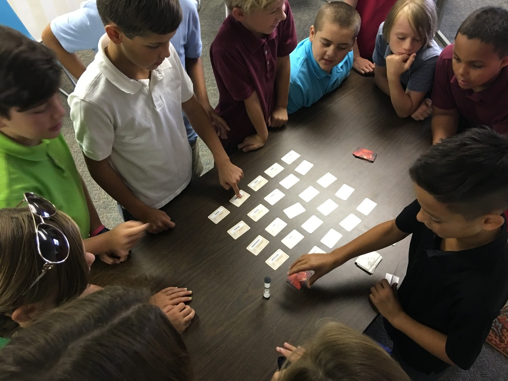 "The group played Codenames, a social board game that challenges students with word association and collaboration as a team. Justice and River were the ""spymasters"" and gave secret clues to the rest of their teams. Everyone had a great time!"