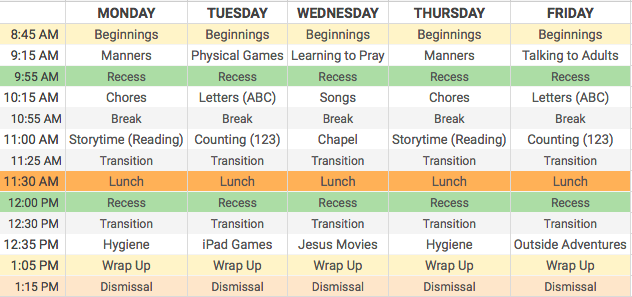 Here is your child's weekly schedule!