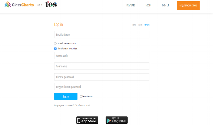 This is the login / account creation screen for Class Charts. Use the access code that I shared with you via email to create an account and follow your student(s).