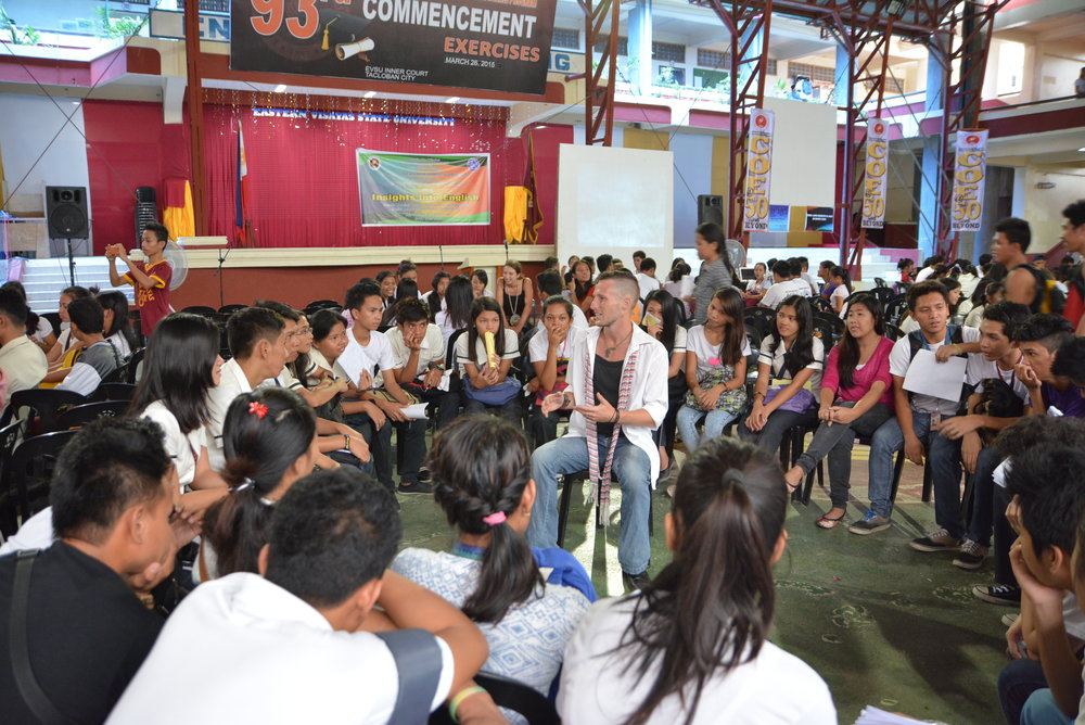 Clark Miller facilitates a group exercise for English language learning students at Eastern Visayas State University.  English is becoming a increasing demand from employers in the Philippines and for Filipinos who work abroad, a very popular option for college graduates who have a hard time finding work in the Filipino work field.