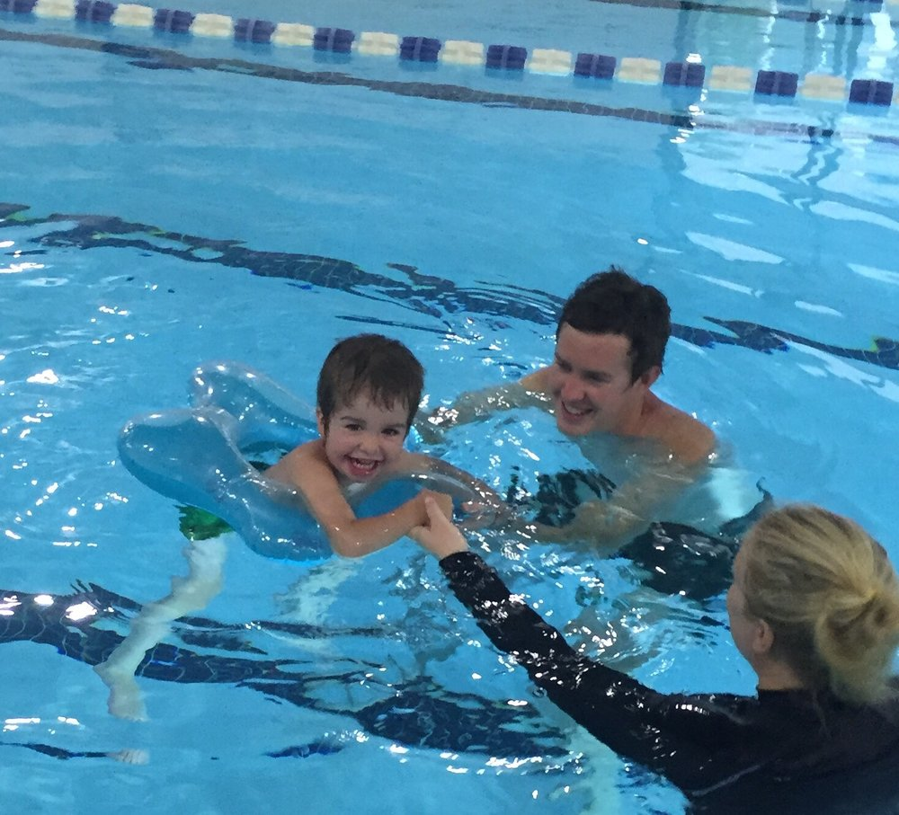 Brett attends aquatic therapy with Levi, and learns ways to work with him in a pool to improve his motor skills.