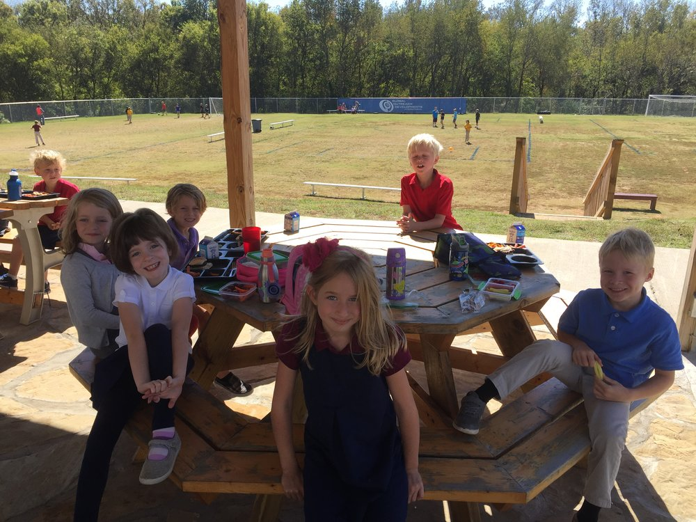 The students always find each other at lunchtime to sit and chat about their days!