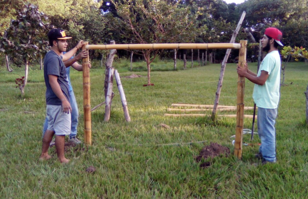 The youth featured in this article are constructing soccer goals out of bamboo for their neighborhood league.