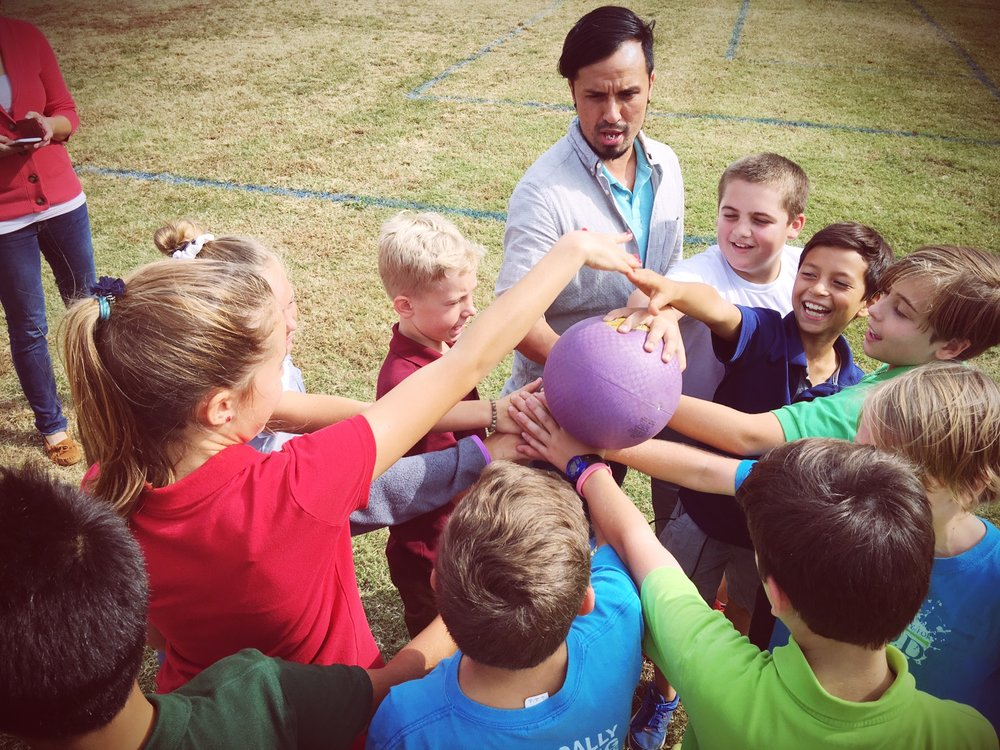After a rousing game of Bible kickball, a fun and interactive review game. Students must answer a Bible question from their teachers (the pitchers) before they get the opportunity to kick. It was a BLAST!