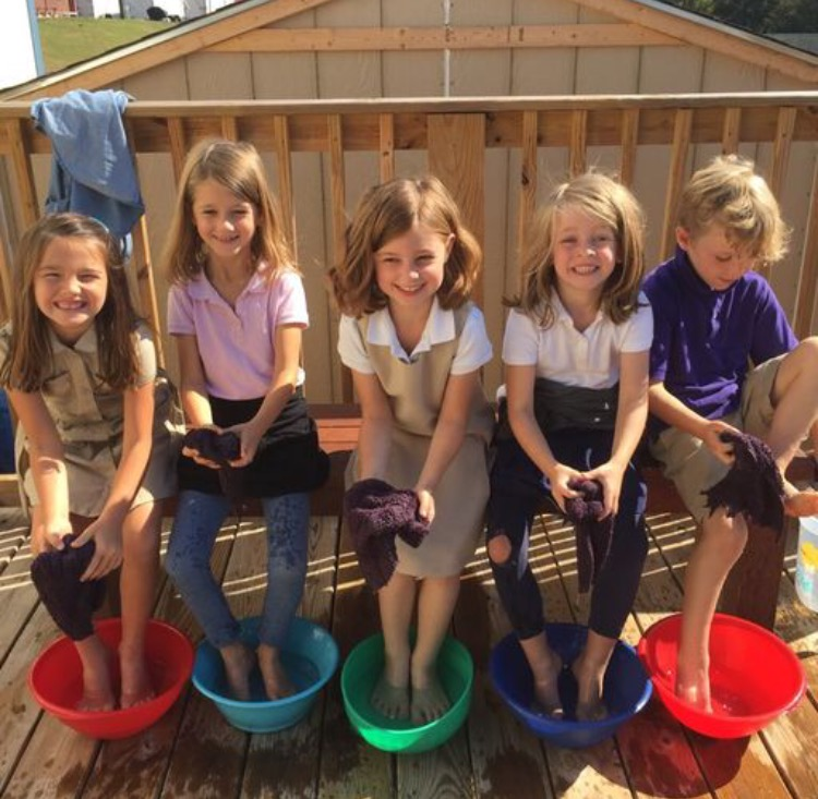 The students learned the importance of keeping their feet clean and dry, being especially careful to wash them after sports practices!They practiced washing between their toes, and drying thoroughly before putting shoes back on.