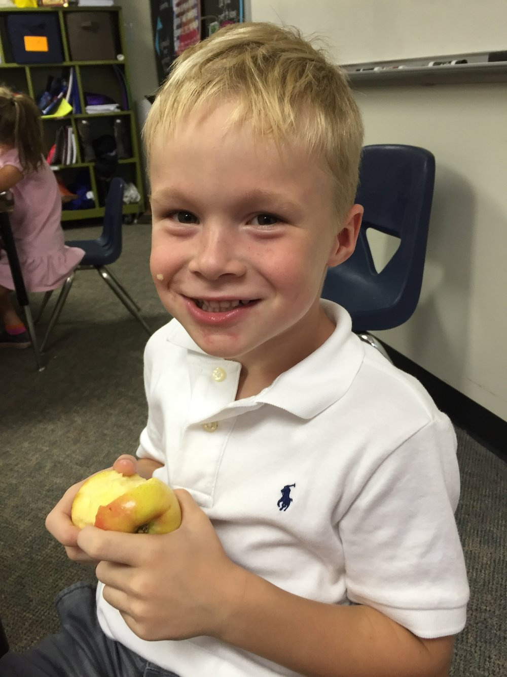 During our segment on Oral Health students learned that sticky, gummy, sweet snacks were bad for their teeth, but fresh fruits like this one are a great natural tooth cleaner!