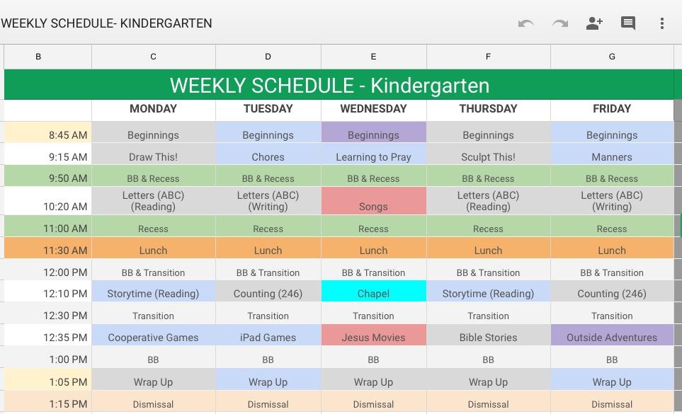 Spring 2017 Kindergarten Schedule
