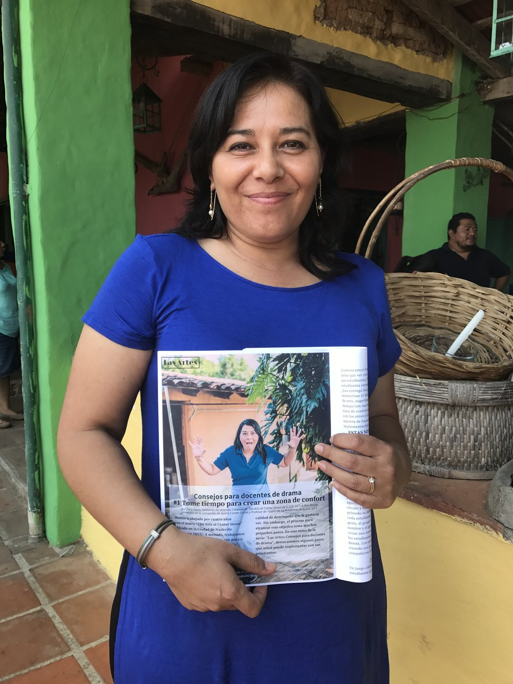 "This teacher is very special to us! She worked with us to produce our play, ""El Bus"" in El Salvador and now found herself pictured in the magazine!"