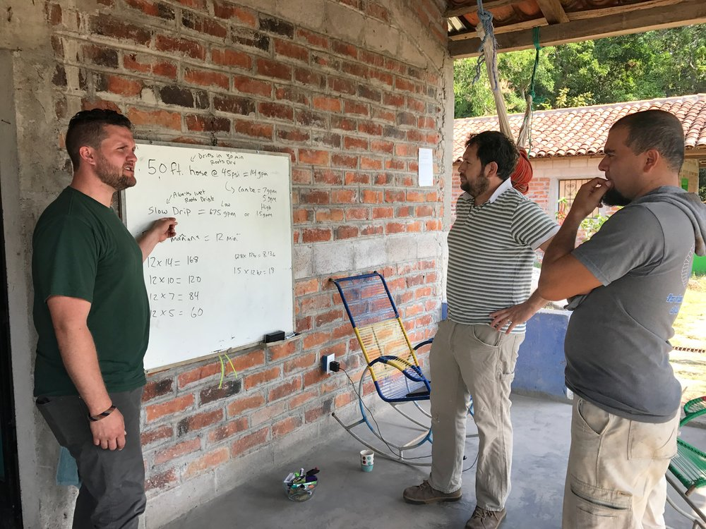 Matthew, Marco and Antonio troubleshoot issues and consider solutions for slow drip irrigation that we recently installed.