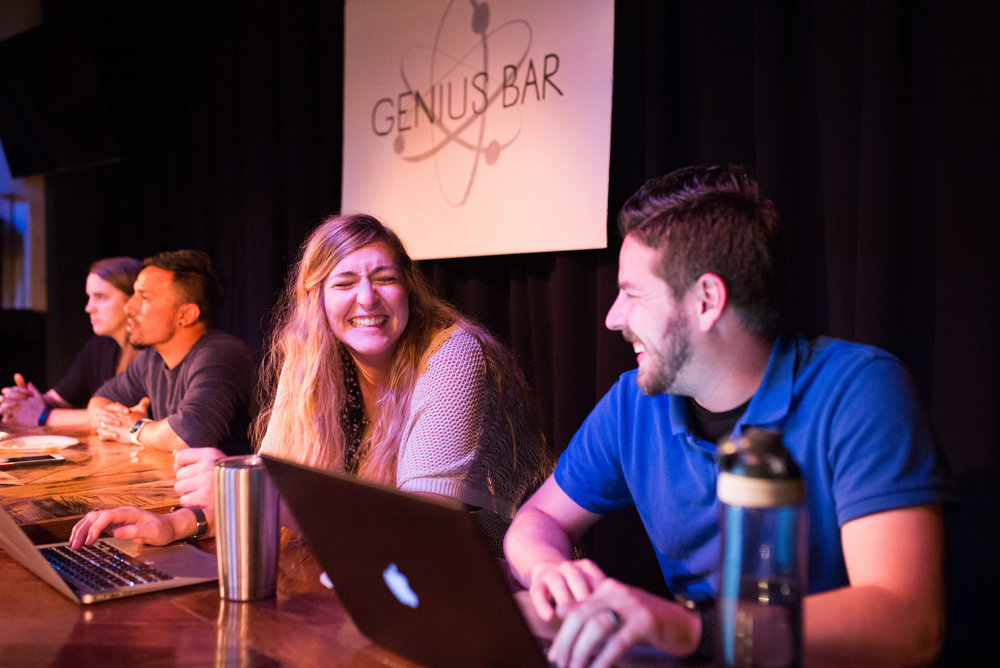 "Our genius bar included theological, public health, foreign language and music ""geniuses"" - can you guess who is who?"