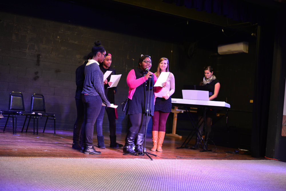 "A group of girls participated in a chorus group led weekly by Rebekah Davis. They learned various parts and harmonies, culminating in a performance of ""A Thousand Years"" at our ShowCASE event."