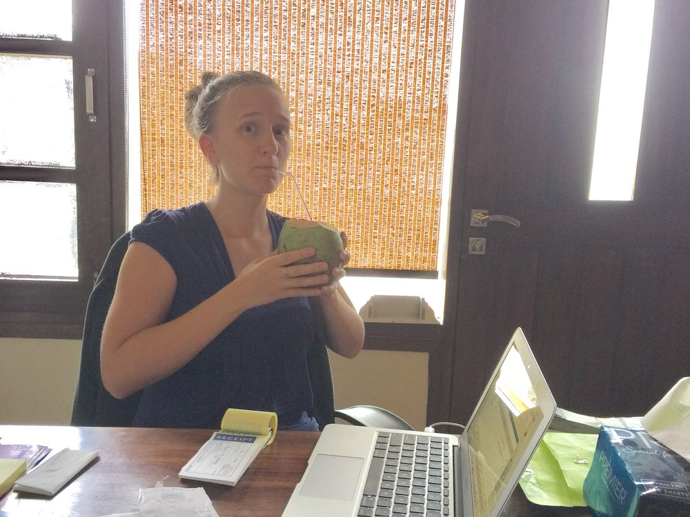 I keep track of the immersion team finances. The immersion team is a group that has decided to immerse themselves in Indian culture for 5-7 weeks and are moving more toward a commitment to serve the Lord overseas. Anyways, here I am doing finances and drinking coconut water. It's pretty crazy - you walk to the market just down the street and a guy uses a huge knife to chop off the end of a coconut, sticks a straw in it, and for 45 rupees, you can drink fresh coconut water. (The exchange rate is currently 64 rupees to the dollar.)