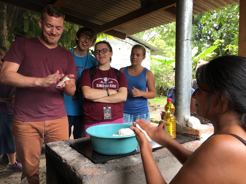 Carmen, our neighbor, is a single mother of 4 and often hosts our teams. The team laughs together as they attempt what she has long mastered: making tortillas. This is just one of a multitude of humbling moments that takes place when visiting a culture so different than your own.
