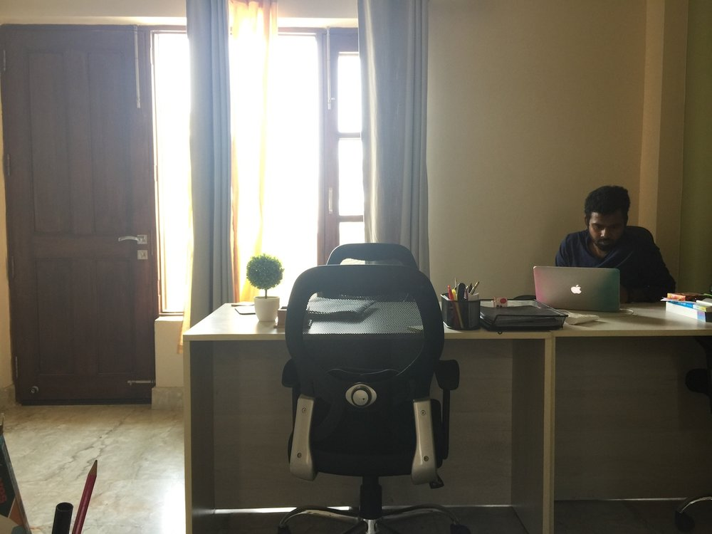 Here's a picture of the office from my vantage point. Manohar, my office co-manager, is faithful to arrive early and stay late. He's a hard worker and a blessing to everyone around him.