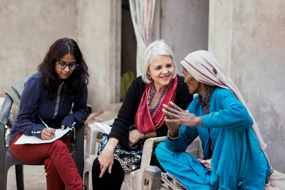 Rosemary Sherrod, ethnographer,along with translator Cathy John, interview Ram Rakhi about her life experiences as a midwife.