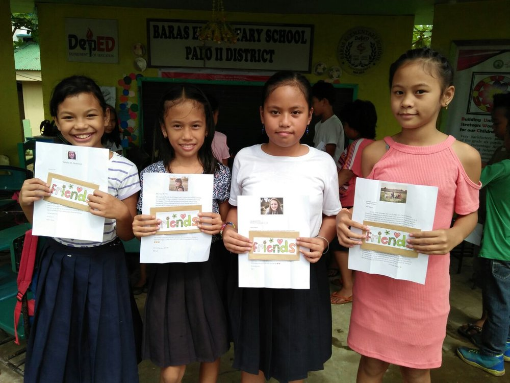 These four girls received some wonderful letters from our 4 girls :) Look close and you can see who got who!