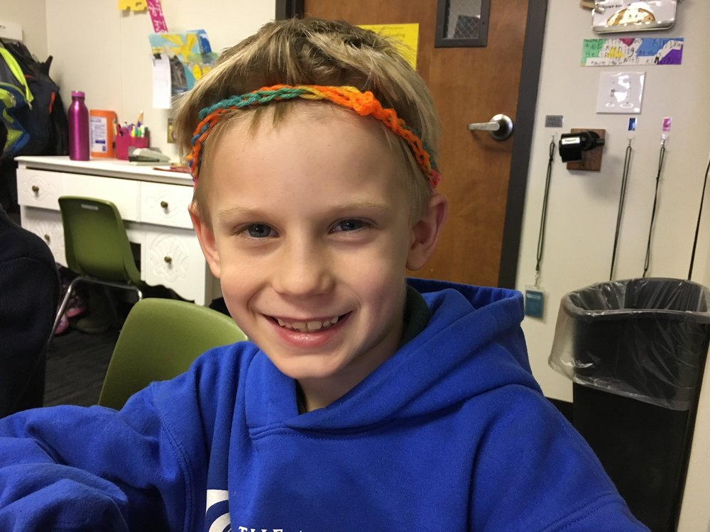 Week Highlight: Final Crocheting Project Success! Here, Dryver sports his final headband. He made it himself using the craft of crocheting that he learned through reading, video tutorials, measurement, estimation,trial and error, and endurance over the past two weeks!
