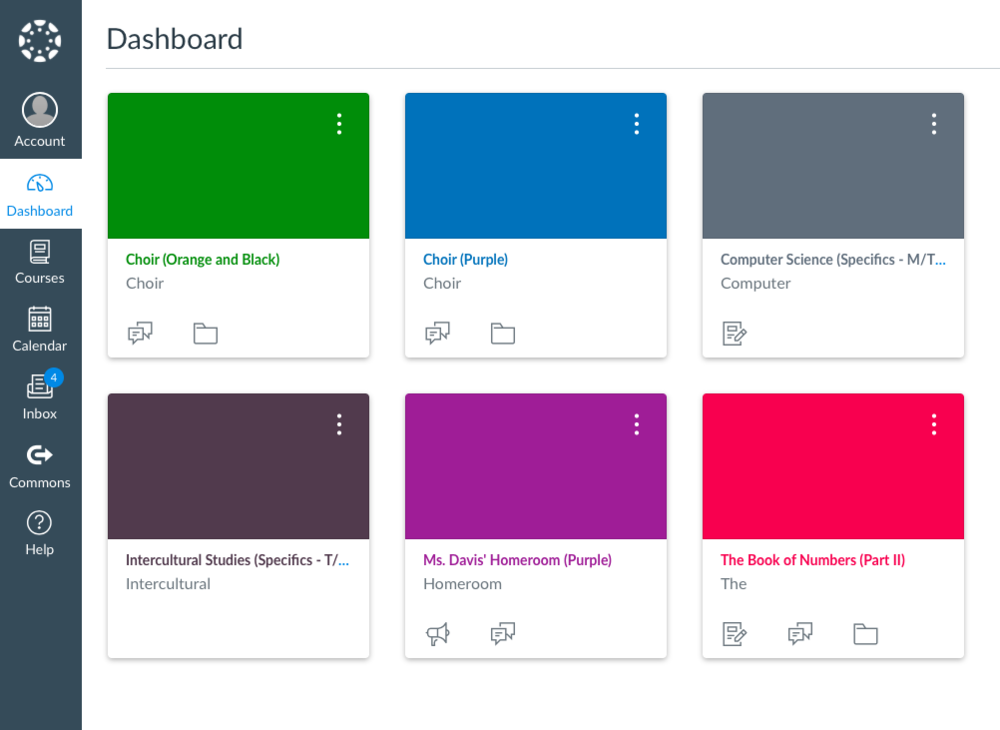 When you go onto your child's Canvas account you'll see a 'Dashboard' that looks something like this.