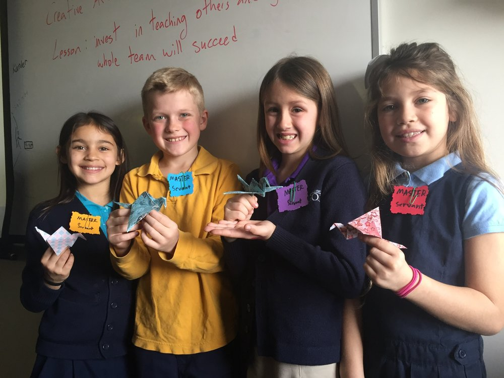 "Students who practiced and perfected (mastered) their art of crane making were given the opportunity to serve their classmates as ""Master Servants."""
