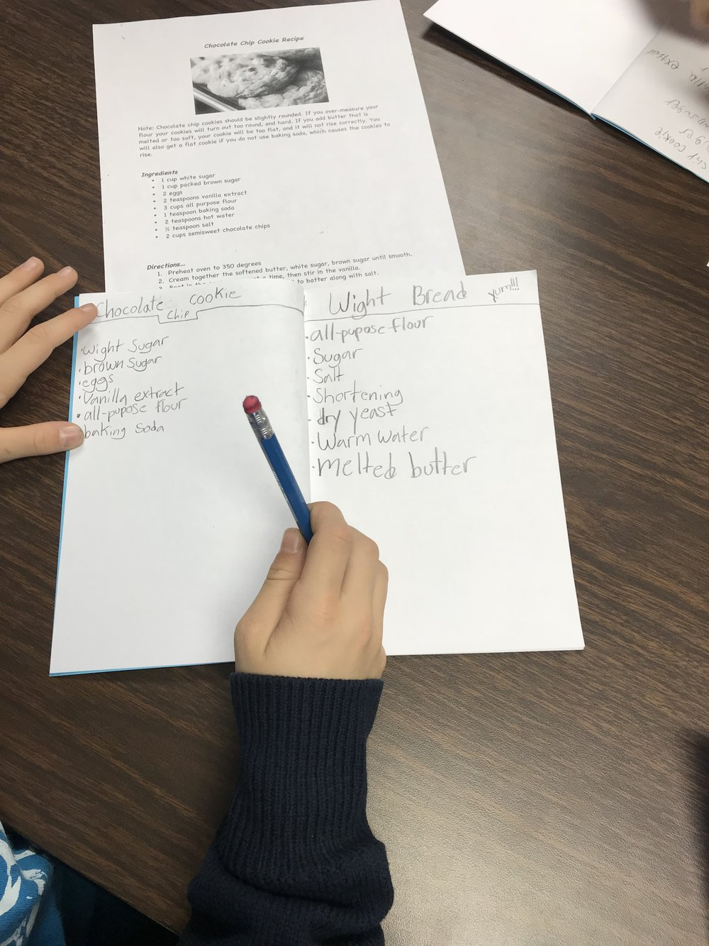 Students practiced copy work to identify spelling mistakes they make as they create their recipe books.