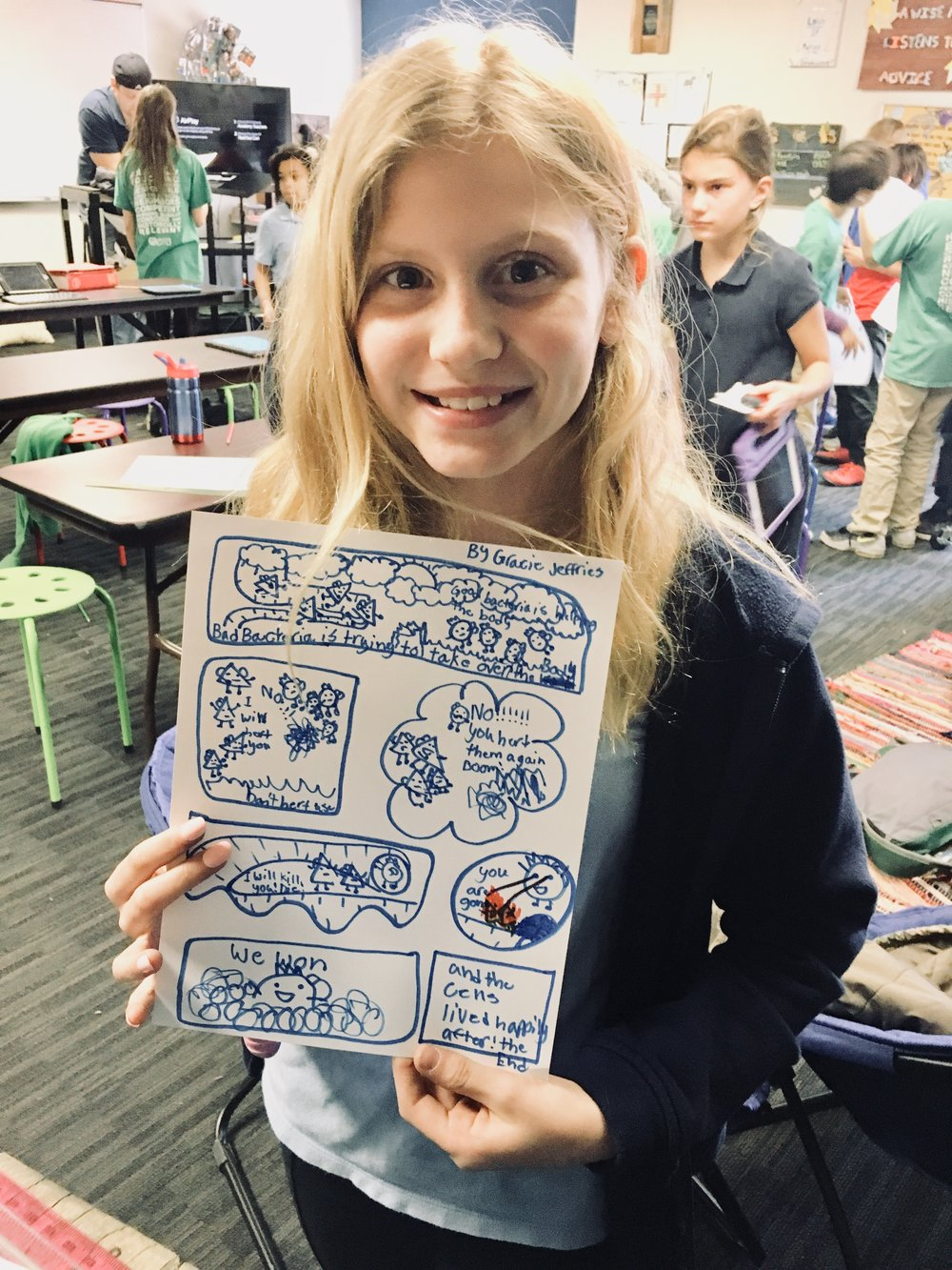 Comics! - Students learned in Mr. Olson's class how to use various shapes to add to the storyline of a comic and fill the frame.  Gracie's was highlighted as one of the best examples!
