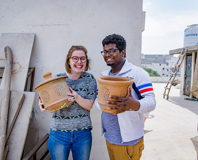 At our Gurgaon office we utilize the rooftop terrace to practice gardening techniques in an urban setting. 🌱 Recently, intern Jenna and GOD India Staff Deepak kickstarted a compost system. They are pictured here with our new composting pots, excited to enrich our garden in a clean, efficient way! #urbangarden #rooftopgarden #godindia #godintl #india
