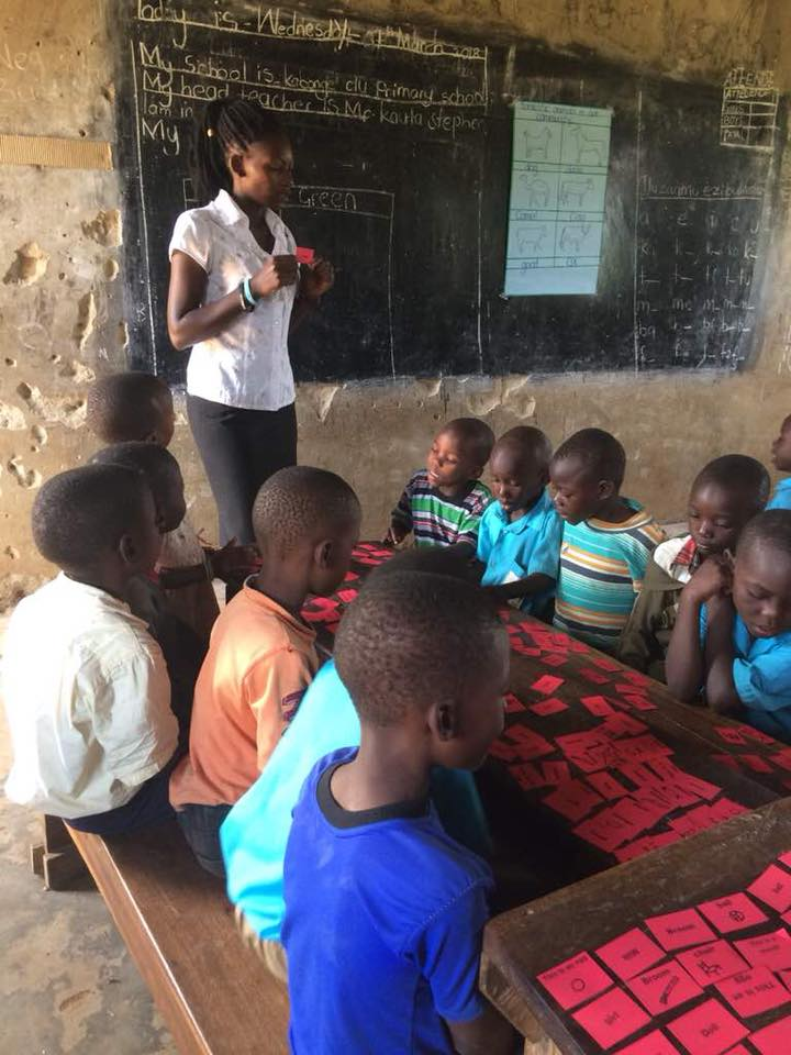 EA Institute student, Miriam, is being trained by our cooperative and teacher,Annette to teach in the classroom. Above, she facilitates a game with sight words for the students, inspired from a teacher training seminar offered to them last summer by Rachel Hartnell.