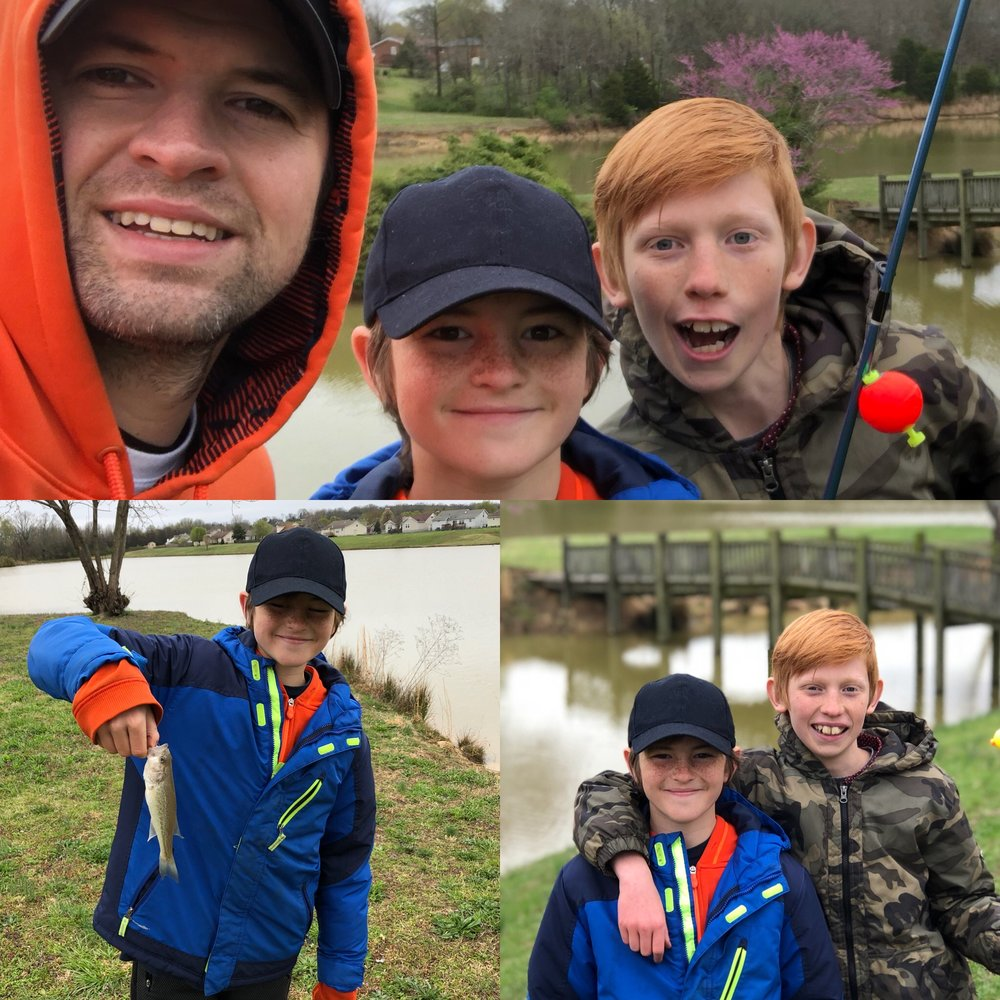 Eved and Shiloh opted to take a short fishing trip as their Dojo Point reward.  It was cold, but the fish were still biting!
