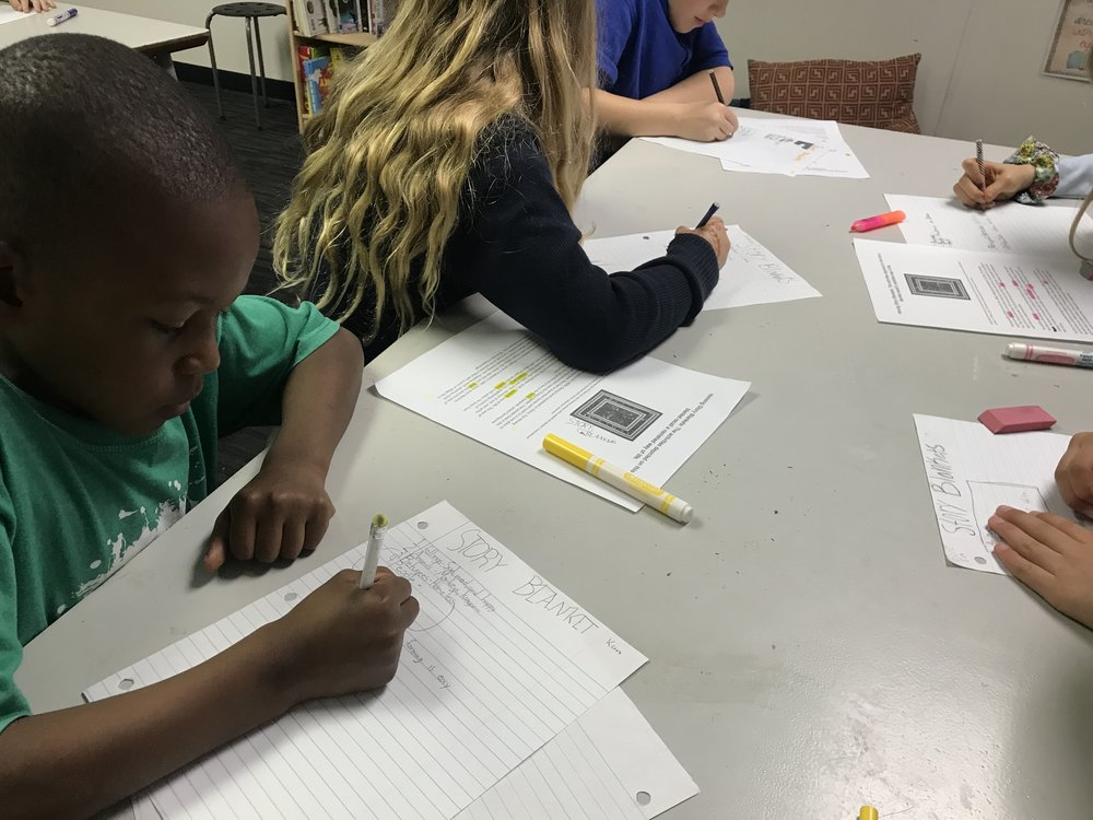 Students have been learning about writing in a straight line with appropriate letter sizing, as well as how to determine the meaning of a word based on context clues in the surrounding text. They are doing this through the study of Story Blankets that exist in different cultures.