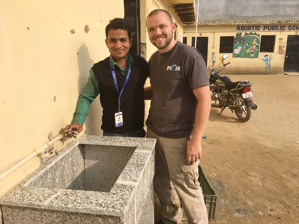 Stephen installed a hand-washing sink at Aquatic Public School in India, enabling better sanitation to curb the spread of sickness.