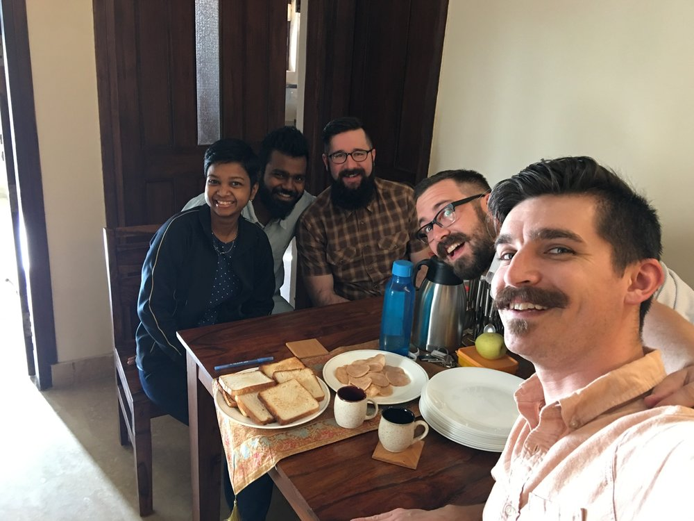 Remembering Jesus over a shared meal is a priority for us. Here, the March 2017 team shares breakfast with Sneha and Manohar before starting a full day of work.