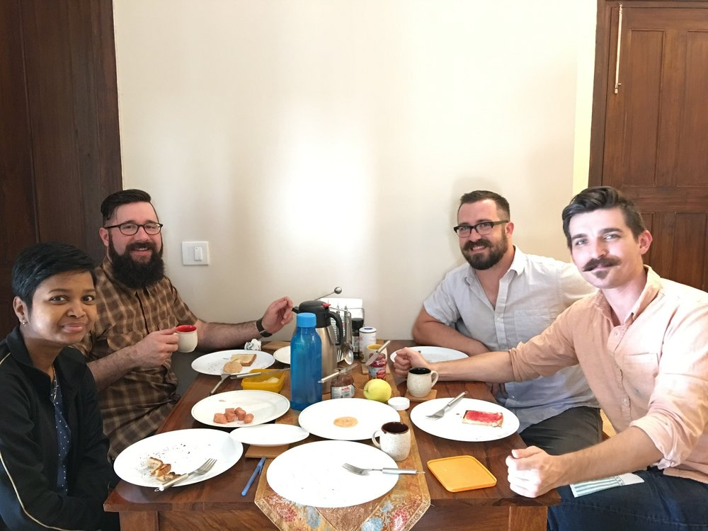 During mealtimes we have the opportunity to encourage one another with scripture and learn more about each other's lives. India team members Taylor, Corey, and Josh pause with cooperative Sneha Purti to let Manohar capture the moment.