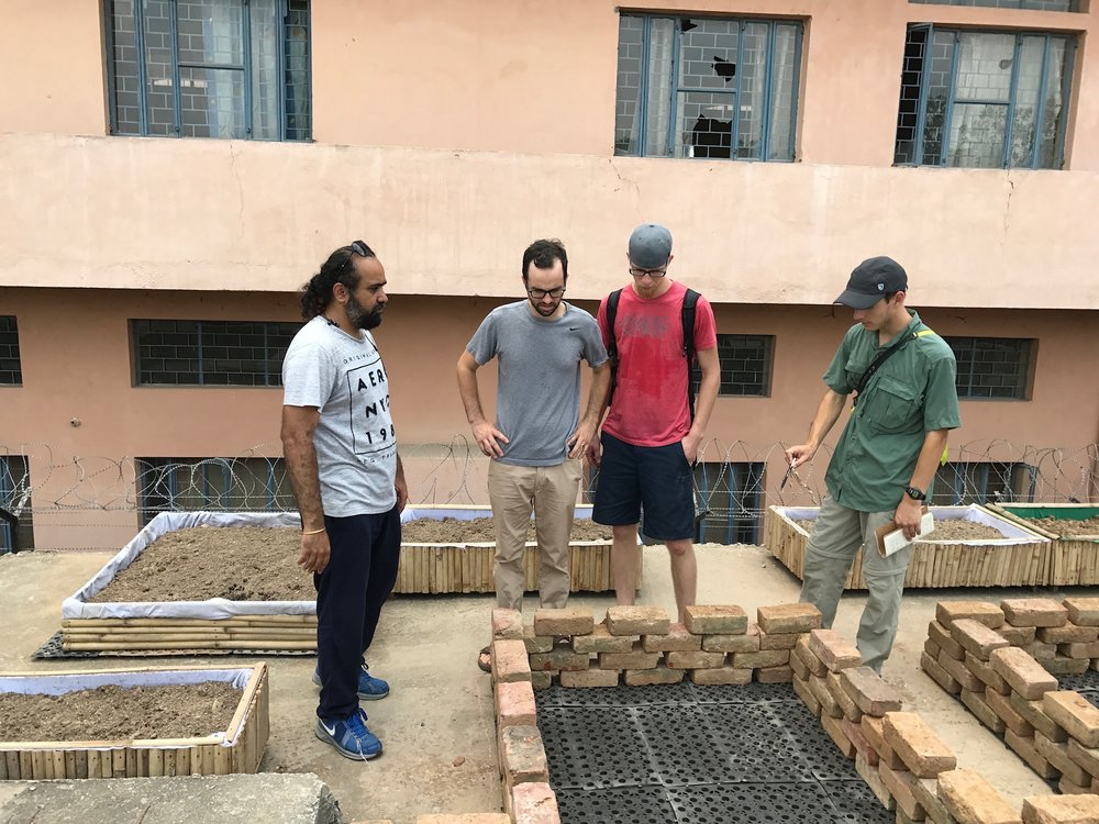 Long before he arrived in India, G.O.D. Institute student Jameson had been investigating methods of rooftop gardening in India, and preparing plans to begin one on our terrace in Gurgaon.