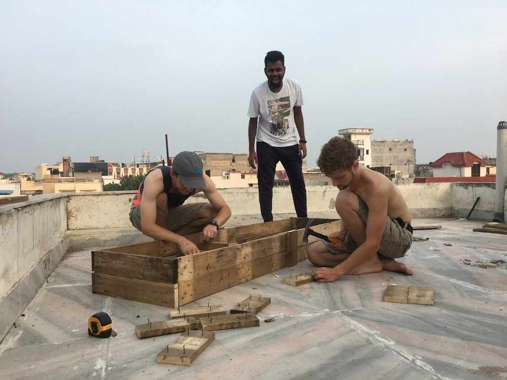 Manohar, Ryan and Summer Intern Carl Cook all helped construct the garden beds that are now producing on our rooftop garden. In a region where farming is looked down on as a lowly occupation, we want to affirm the practice of growing your own food, as it was one of the first jobs God gave humanity. (Gen. 2:15)