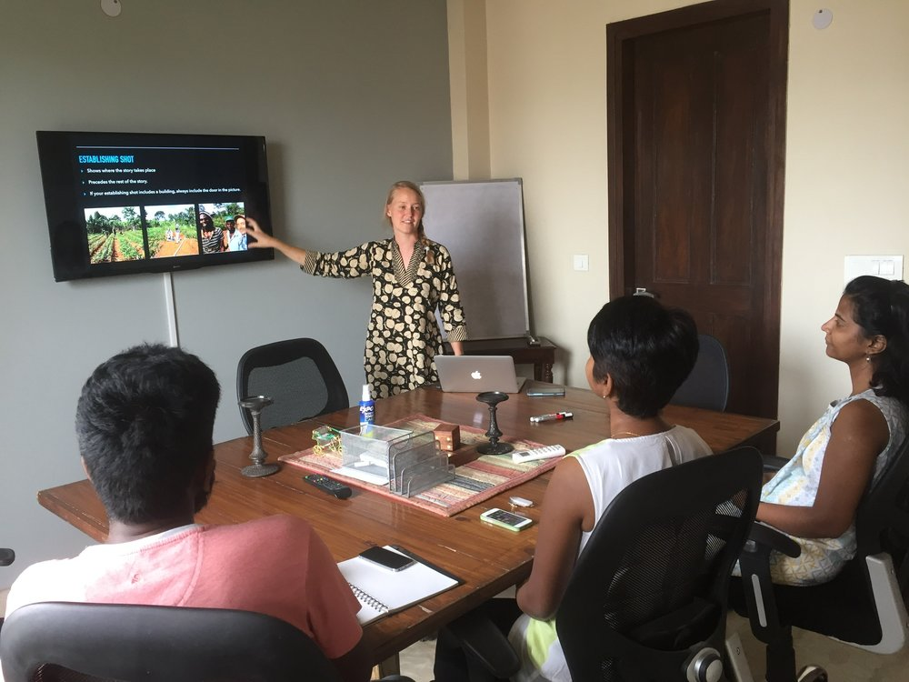 Immersion students often supplement our development efforts abroad with unique skill sets. Corey Foster taught a media seminar to our India staff, showing them how to maximize the use of their phone cameras so as to document development projects.