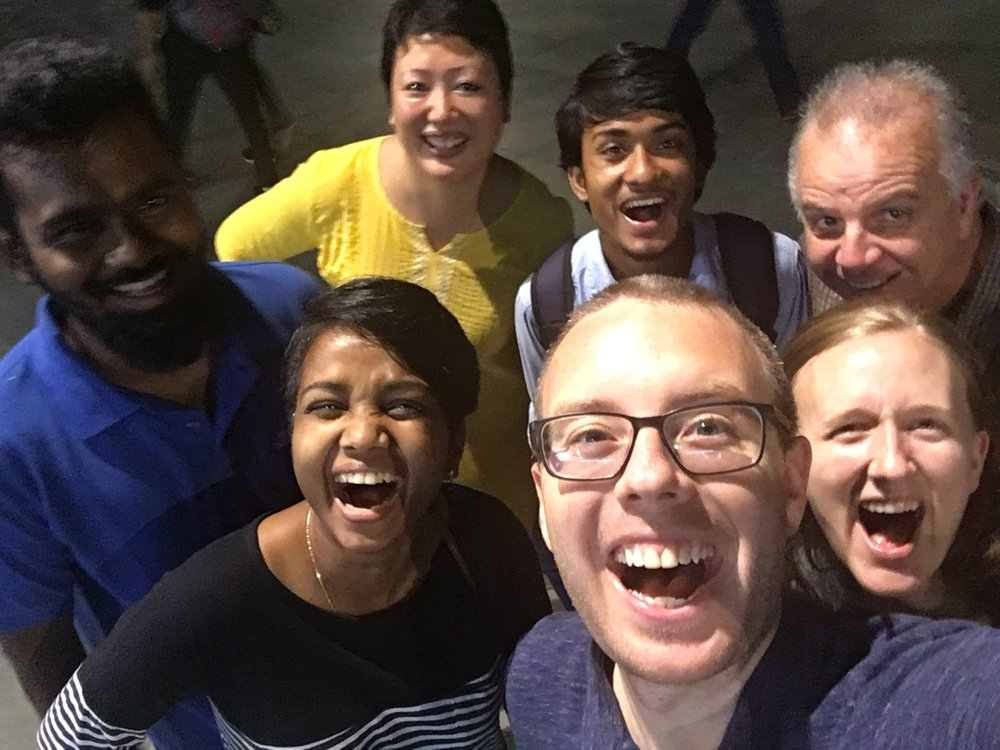 In August 2017, team manager Andrew Bartlett (bottom middle) and Scott Sherrod (top right) traveled to India to continue training our employees. These training times aimed to transmit both technical, job-related skills, and more importantly, to enhance our staff's understanding of our philosophy of mission. Here, the team had just finished a discussion on our pursuit of holiness over that of cultural preference, rooted in Leviticus 19.