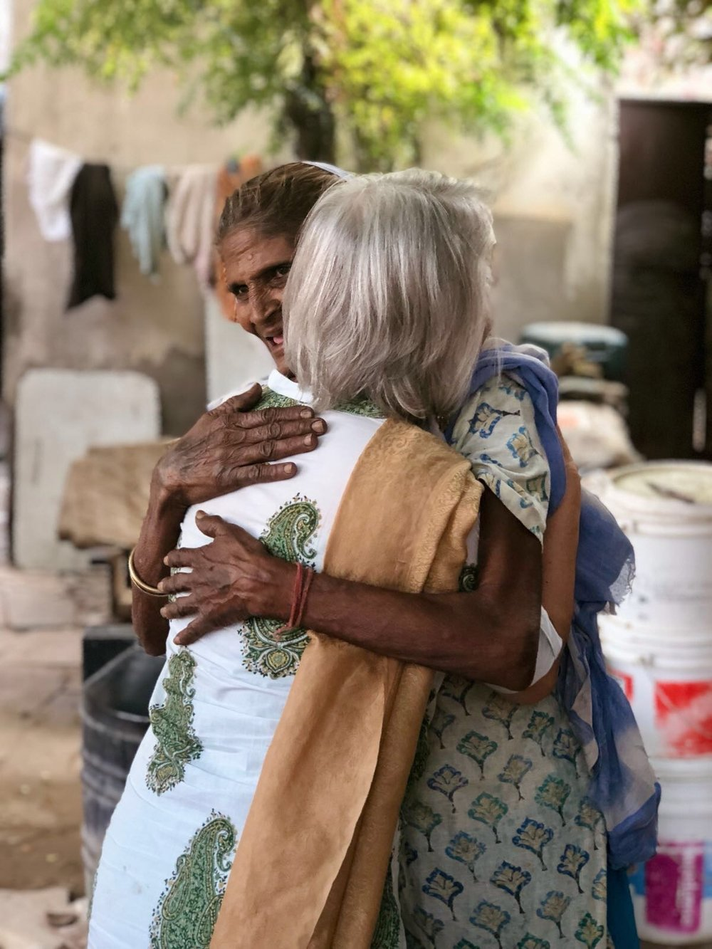 It was a sweet reunion between Rosemary Sherrod and this experienced Indian village midwife, affectionately called 'Danto' (toothless). For over a year now, Rosemary has been compiling Danto's stories in preparation for a documentary about her lifelong work in childbirth. Team members Leah and Stephanie also had the privilege to meet her and learn of her wonderful work!