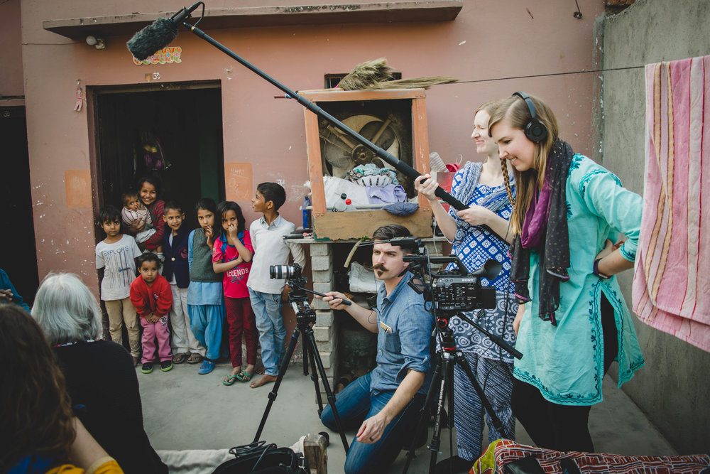 Each person had a part to play in the filming of this documentary, to ensure this film was done with excellence. In the background are the many kids, mostly Rakhi's grandchildren, who were fascinated with the filming process.