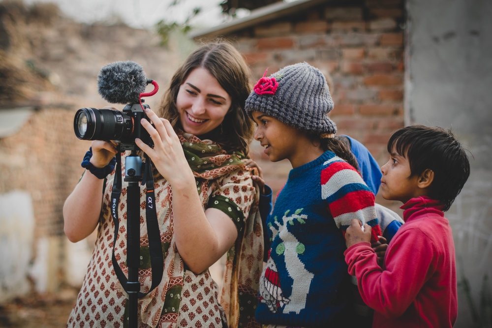 Alison Jobe, Lipscomb film student, was thrilled to join us on this trip and apply her knowledge of videography. She was so helpful to us on set whether it was getting b-roll, setting up a tripod, or entertaining the many kids who wanted to be on film too!