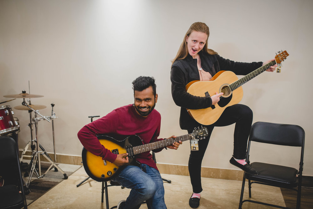 Meet APS's music teachers, Manohar Paul and Rachel Nowlin. As you can see, music class is no fun at all.