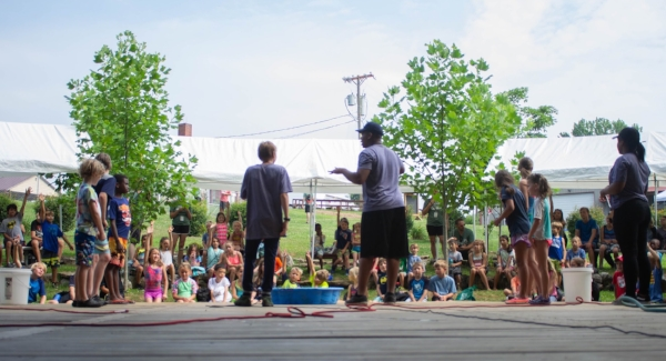 WorkWell employees Jonah Liley (L) and Albert Igbinigie (R) led Friday morning session for the campers. It was a hit!