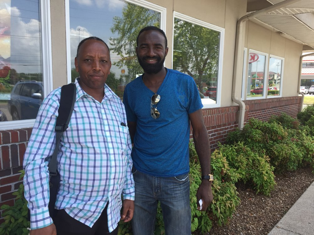 Joseph (left) is a refugee from the Democratic Republic of Congo (DRC), and pastors a congregation of Congolese refugees in Nashville. Before moving to the US, they were refugees in Uganda for years, having had to flee conflict in the Congo. Many of them are very new here, and some are still arriving. Nyago met Joseph and his congregation in June and has begun forming relationships with them.