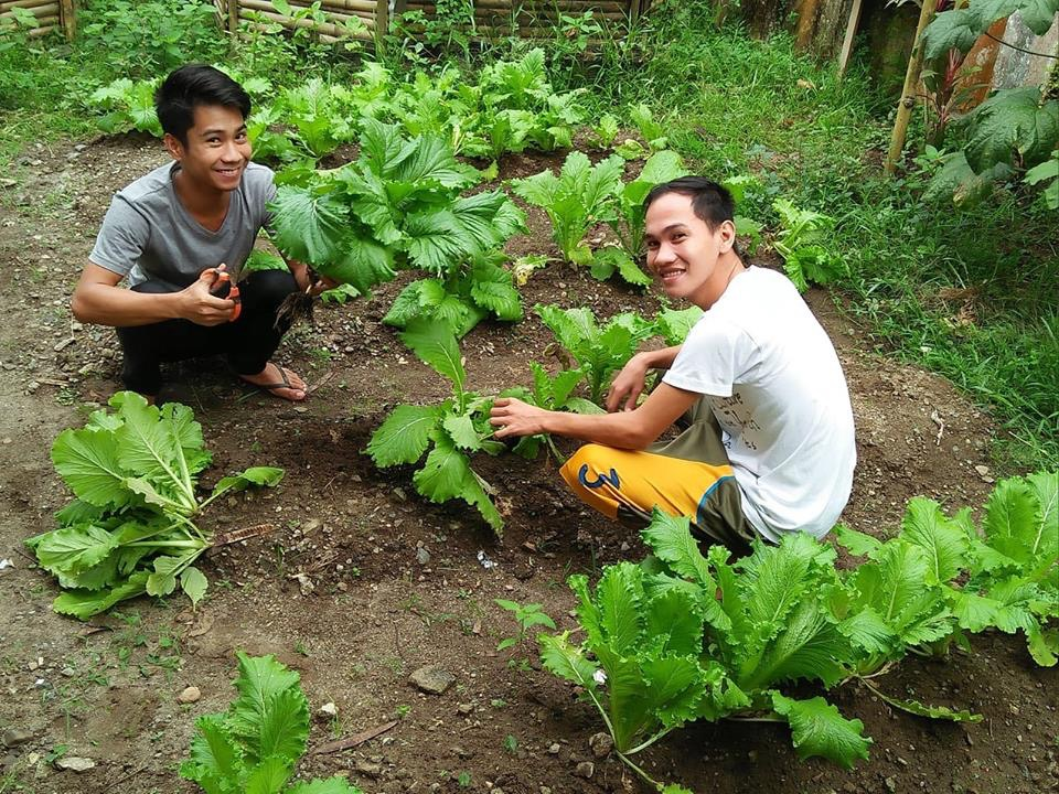 Agriculture intern, Jairus Tumamak, works with Pepito Acebedo in the Tahanan Garden. Along with studying God's Word, Jairus is enthusiastic about food production and does his best to implement what he is learning through his internship.