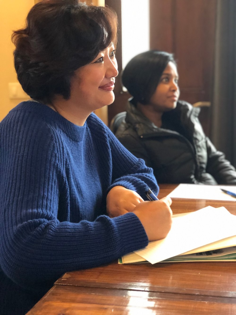 With Rose (foreground) and Sneha (background), we reviewed our last two years of activity in maternal health and made plans with how to move forward in our program area of women's health education.