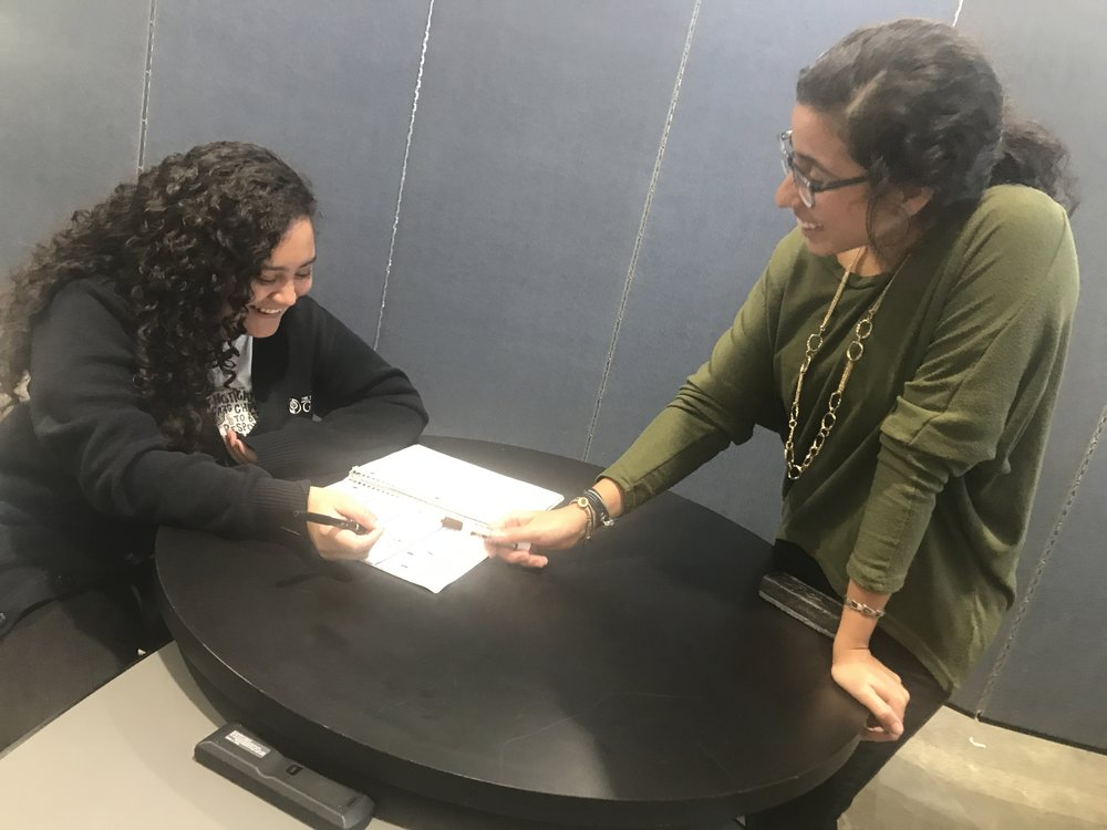 Team member Lavinia Fernandez (right) volunteers as a Spanish teacher at both the Academy and Institute for G.O.D. She approaches the task by first acknowledging that language is necessarily tied to human speakers and therefore cannot be responsibly approached without considering the perspective of the other.