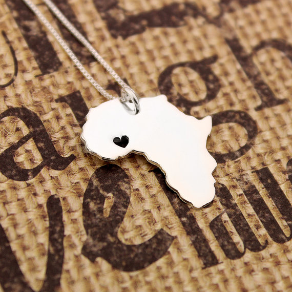 Africa Necklace with Heart over Desired Country