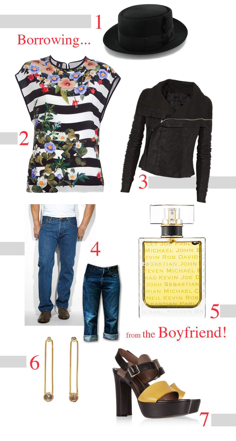 1.  'His' Black Felt Pork Pie Hat 2. Stripe Floral Top by Mother of Pearl 3. Rick Owens Leather Jacket 4. 'His' Levi's 501 jeans 5. Boyfriend Perfume 6. Aesa Quartz Earrings 7. Black / Yellow Marni leather platform sandals