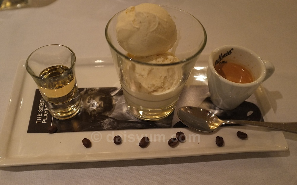 Affogato  with Vanilla bean ice cream, Vittoria short black and Frangelico