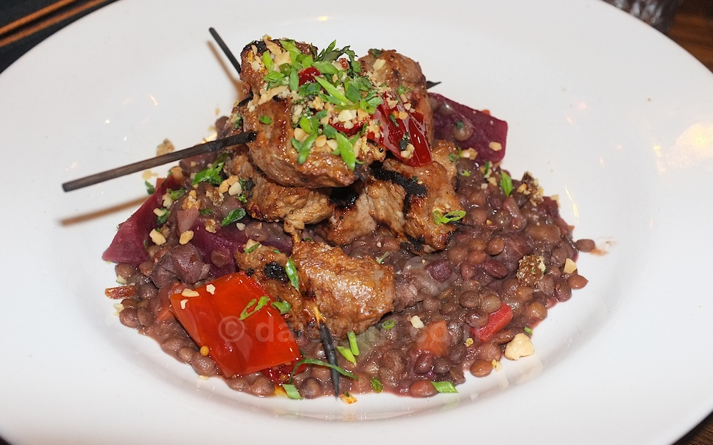 Lamb skewers and roasted beetroot, lentils and almond, mint and sultana gremolata